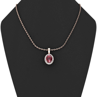 0.62 Carat Oval Shape Ruby and Halo Diamond Necklace In 14 Karat Rose Gold With 18 Inch Chain