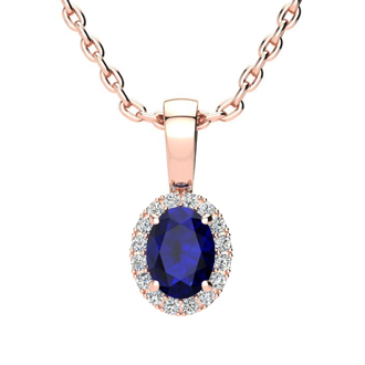 0.67 Carat Oval Shape Sapphire and Halo Diamond Necklace In 10 Karat Rose Gold With 18 Inch Chain