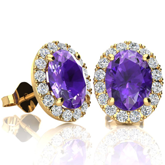 2.40 Carat Oval Shape Amethyst and Halo Diamond Stud Earrings In 14 Karat Yellow Gold