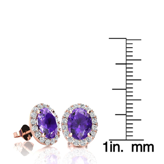 2.40 Carat Oval Shape Amethyst and Halo Diamond Stud Earrings In 10 Karat Rose Gold