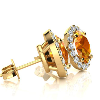 2.40 Carat Oval Shape Citrine and Halo Diamond Stud Earrings In 14 Karat Yellow Gold
