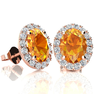 2.40 Carat Oval Shape Citrine and Halo Diamond Stud Earrings In 14 Karat Rose Gold
