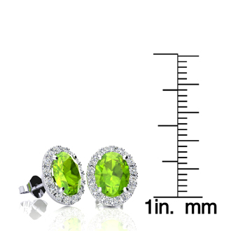 3 Carat Oval Shape Peridot and Halo Diamond Stud Earrings In 10 Karat White Gold