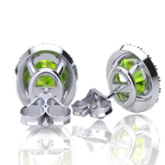 3 Carat Oval Shape Peridot and Halo Diamond Stud Earrings In 14 Karat White Gold