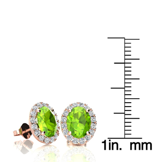 3 Carat Oval Shape Peridot and Halo Diamond Stud Earrings In 14 Karat Rose Gold