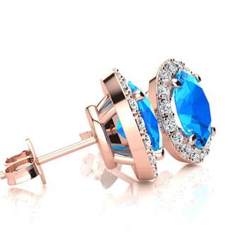 3 1/4 Carat Oval Shape Blue Topaz and Halo Diamond Stud Earrings In 14 Karat Rose Gold