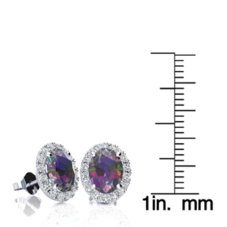3 1/4 Carat Oval Shape Mystic Topaz and Halo Diamond Stud Earrings In 10 Karat White Gold