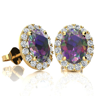 3 1/4 Carat Oval Shape Mystic Topaz and Halo Diamond Stud Earrings In 10 Karat Yellow Gold
