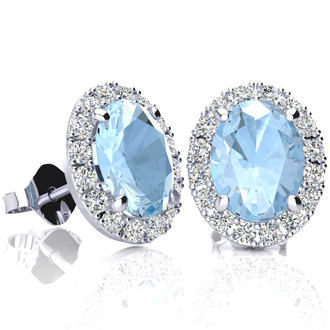 2 1/2 Carat Oval Shape Aquamarine and Halo Diamond Stud Earrings In 14 Karat White Gold