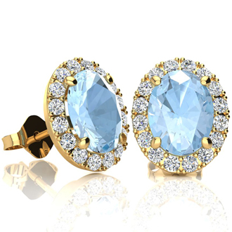2 1/2 Carat Oval Shape Aquamarine and Halo Diamond Stud Earrings In 14 Karat Yellow Gold