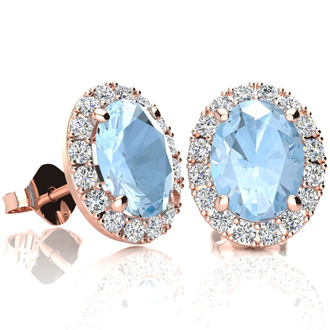 2 1/2 Carat Oval Shape Aquamarine and Halo Diamond Stud Earrings In 10 Karat Rose Gold