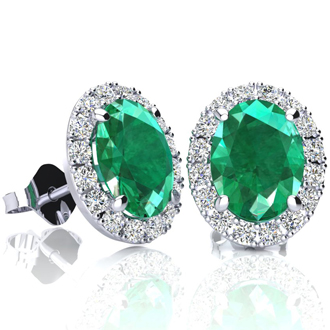 2 1/2 Carat Oval Shape Emerald and Halo Diamond Stud Earrings In 14 Karat White Gold