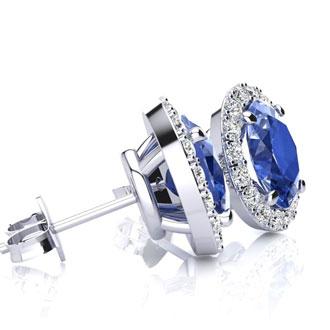 2.90 Carat Oval Shape Tanzanite and Halo Diamond Stud Earrings In 14 Karat White Gold