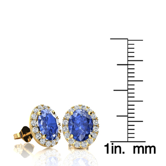 2.90 Carat Oval Shape Tanzanite and Halo Diamond Stud Earrings In 10 Karat Yellow Gold
