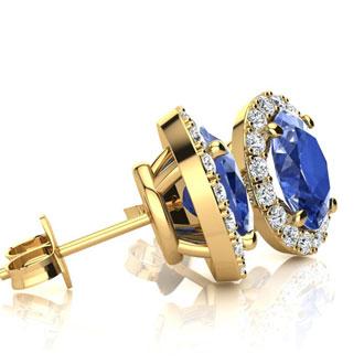 2.90 Carat Oval Shape Tanzanite and Halo Diamond Stud Earrings In 14 Karat Yellow Gold