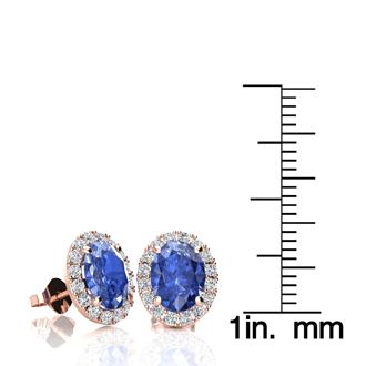 2.90 Carat Oval Shape Tanzanite and Halo Diamond Stud Earrings In 14 Karat Rose Gold