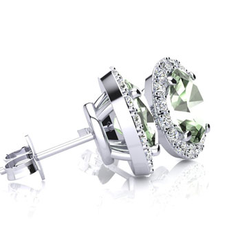 2.40 Carat Oval Shape Green Amethyst and Halo Diamond Stud Earrings In 10 Karat White Gold