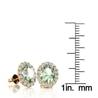 2.40 Carat Oval Shape Green Amethyst and Halo Diamond Stud Earrings In 14 Karat Yellow Gold