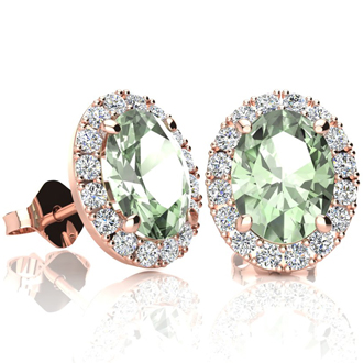 2.40 Carat Oval Shape Green Amethyst and Halo Diamond Stud Earrings In 14 Karat Rose Gold