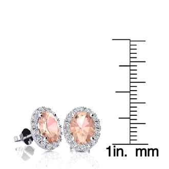 2 1/2 Carat Oval Shape Morganite and Halo Diamond Stud Earrings In 10 Karat White Gold