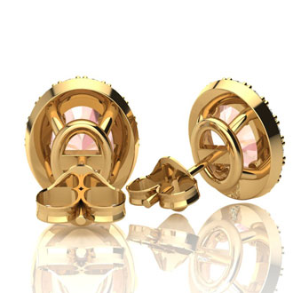 2 1/2 Carat Oval Shape Morganite and Halo Diamond Stud Earrings In 10 Karat Yellow Gold