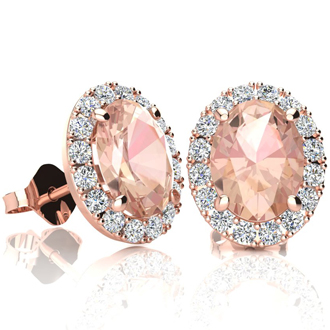 2 1/2 Carat Oval Shape Morganite and Halo Diamond Stud Earrings In 10 Karat Rose Gold
