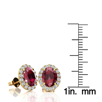 3.40 Carat Oval Shape Ruby and Halo Diamond Stud Earrings In 10 Karat Yellow Gold