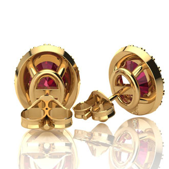 3.40 Carat Oval Shape Ruby and Halo Diamond Stud Earrings In 14 Karat Yellow Gold