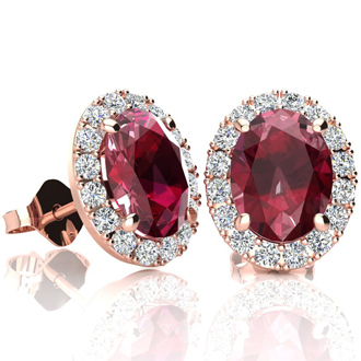 3.40 Carat Oval Shape Ruby and Halo Diamond Stud Earrings In 14 Karat Rose Gold
