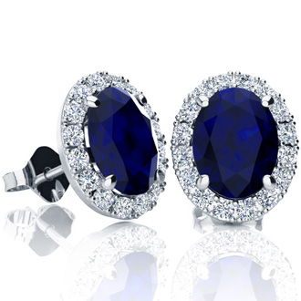 3 1/2 Carat Oval Shape Sapphire and Halo Diamond Stud Earrings In 14 Karat White Gold