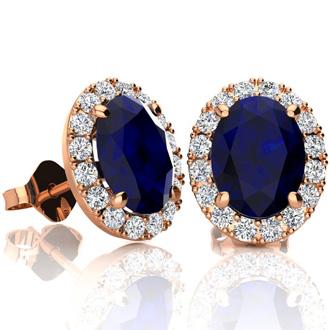 3 1/2 Carat Oval Shape Sapphire and Halo Diamond Stud Earrings In 10 Karat Rose Gold