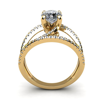 1.50 Carat Open Band Engagement Ring In 14K Yellow Gold