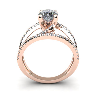 1.50 Carat Open Band Engagement Ring In 14K Rose Gold