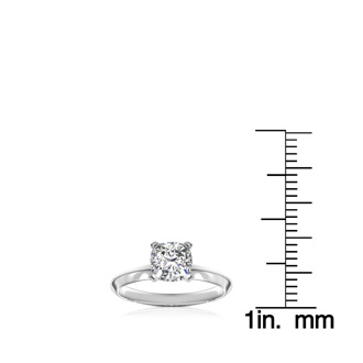 1 Carat Cushion Diamond Solitaire Engagement Ring in 14 Karat White Gold. Diamond Is Off-Color, Eye-Clean.  CLOSEOUT