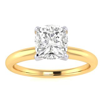1ct Cushion Cut Diamond Solitaire Engagement Ring In 14K Yellow Gold