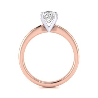 1ct Cushion Cut Diamond Solitaire Engagement Ring In 14K Rose Gold