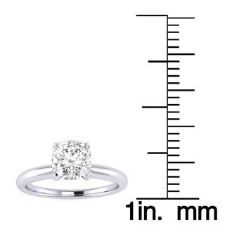 3/4 Carat Cushion Cut Diamond Solitaire Engagement Ring In 14K White Gold