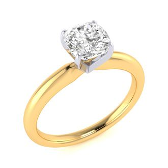 3/4ct Cushion Cut Diamond Solitaire Engagement Ring In 14K Yellow Gold