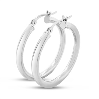 Sterling Silver 3MM Wide 1 Inch Hoop Earrings