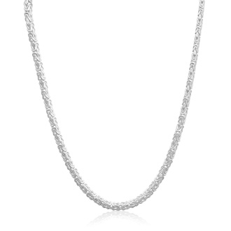 Sterling Silver 6MM Byzanite Chain Necklace, 20 Inches
