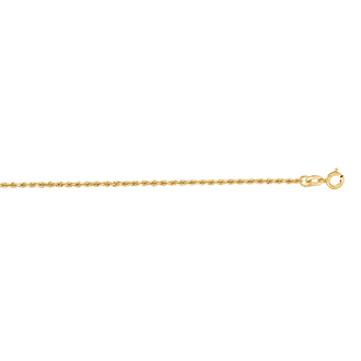14 Karat Yellow Gold 1.25mm 16 Inch Solid Diamond Cut Rope Chain