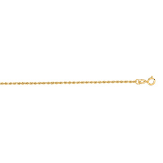 14 Karat Yellow Gold 1.25mm 20 Inch Solid Diamond Cut Rope Chain