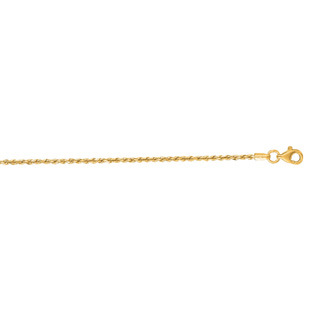 14 Karat Yellow Gold 1.50mm 7 Inch Solid Diamond Cut Rope Chain