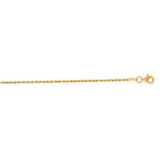 14 Karat Yellow Gold 1.50mm 10 Inch Solid Diamond Cut Rope Chain