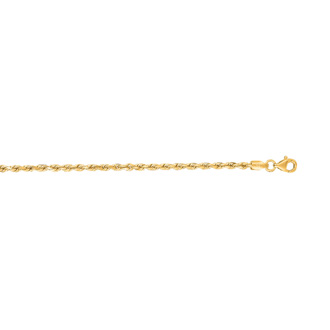 14 Karat Yellow Gold 2.50mm 7 Inch Solid Diamond Cut Rope Chain