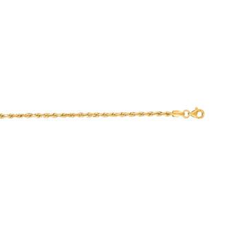 14 Karat Yellow Gold 2.50mm 24 Inch Solid Diamond Cut Rope Chain
