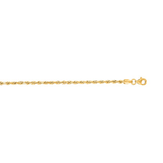 14 Karat Yellow Gold 2.50mm 30 Inch Solid Diamond Cut Rope Chain