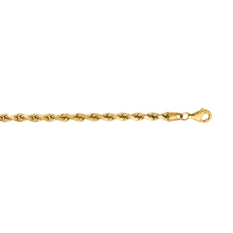 14 Karat Yellow Gold 4.0mm 7 Inch Solid Diamond Cut Rope Chain