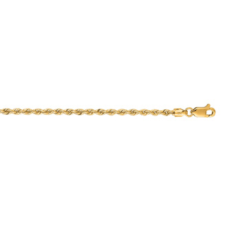 14 Karat Yellow Gold 2.5mm 24 Inch Solid Rope Chain