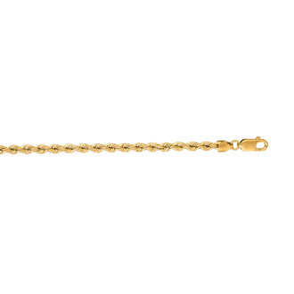 14 Karat Yellow Gold 3.0mm 8 Inch Solid Rope Chain